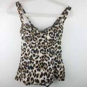 G By GUESS Leopard Corset Tank